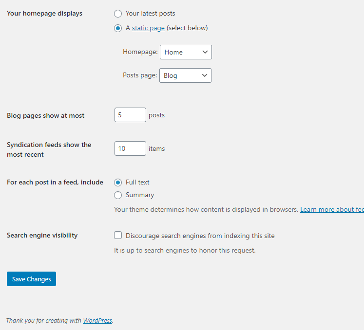 How to add a homepage in wordpress