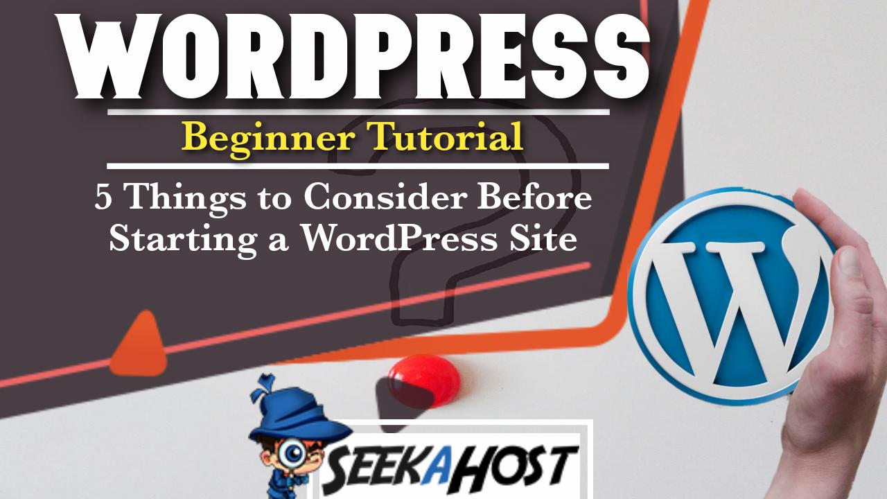 Starting a WordPress Site