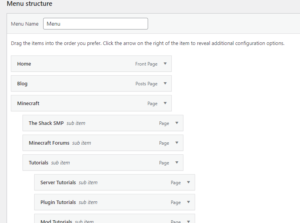 Create a Menu on WordPress
